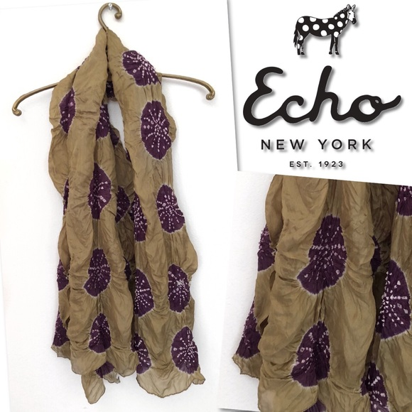 Echo Accessories - 🆕 ECHO GREEN PURPLE SAND DOLLAR OBLONG SCARF